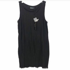 NWT MYRINE PURE SZ MED PLEATED BLACK DRESS